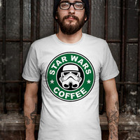 Star Wars Coffee T-Shirt - Stormtrooper(Star Wars) - Soldiers T-Shirt - Funny Design T-Shirt for Men (Various Color Available)