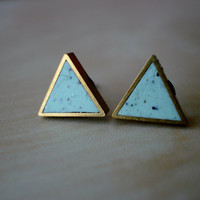 mint chip small brass triangle stud earrings by moonlightforviolet