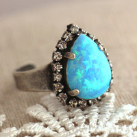 Opal Ring,Blue opal Oxidized Silver ring, silver Halo ring, Swarovski Ring, Opal jewelry, Cocktail Ring, Gift for woman, opal ring.
