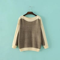2016 Trending Fashion Cardigan Knit Mixed Color Women Loose Long Sleeve Sweater Cardigan Coat Jacket Outerwear _ 9781