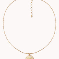 Pearlescent Rosette Charm Necklace