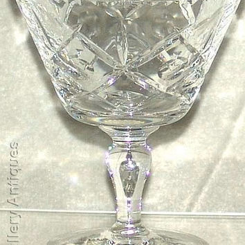 "Vintage retro Crystal Cut Glass criss cross circle desgin 4 1/4"" tall Baluster Stem Cocktail Glass crimped edge c1970's (ref: 185)"