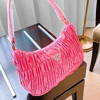 Prada spring new fold hobo bag shoulder bag handbag bag pink