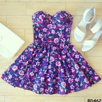 Daphne Floral Bustier Dress with Adjustable Straps - Size XS/S/M BD 462 - Smoky Mountain Boutique