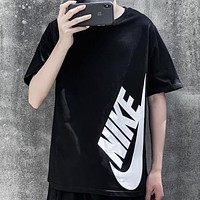 NIKE New fashion letter hook print couple top t-shirt Black