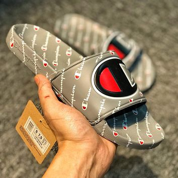 Champion Summer Popular Women Men Leisure Multi Logo Sandal Slipper Shoes Grey