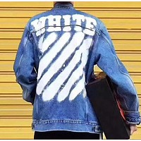 Offwhite Fashion Casual Pattern Print Loose Denim Cardigan Jacket Coat