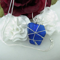 Upcycled, Cobalt Blue Sea Glass Sterling Silver Pendant Necklace, wire wrapped