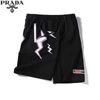 PRADA 2019 new lightning digital printing men and women shorts black