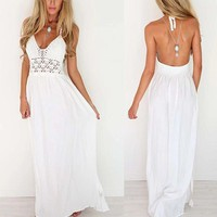 Plunge Hollow Out Sheer White Halter Crochet top Backless Long Maxi Dress Casual