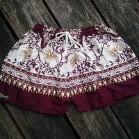 Red Burgundy Floral Flower Summer Beach Shorts Elegant Exotic Boho Print Aztec Ethnic Hippie Clothing Bohemian Ikat Cotton Cute Comfy Women