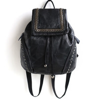 Leather Backpack Rivet Zippers Travel Bags [6048714241]