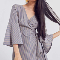 Ecote Striped Bell-Sleeve Wrap Dress | Urban Outfitters