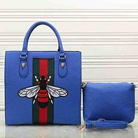 Perfect Gucci Women Bee Embroidery Leather Tote Handbag Satchel Crossbody Set Two-Piece