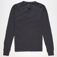 Shouthouse Solid Mens Henley Thermal Charcoal  In Sizes