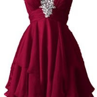 Angel Bride Cute Short Sweetheart Chiffon Cocktail/Homecoming Dresses for Juniors- US Size 4