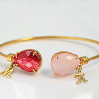 Natural Personalized Birthstones adjustable gold bangle  -  Mother's bracelet, Customizable choose any two stones & initials, grandma gift
