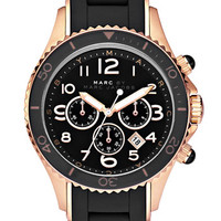 Women's MARC BY MARC JACOBS 'Rock' Chronograph Silicone Bracelet Watch - Rose Gold/ Black