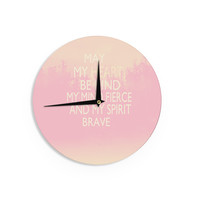 """Suzanne Carter """"Kind-pink"""" White Typography Wall Clock"""