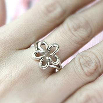 Perforated Flower Silver Ring Sterling Ring .925 Silver Ring Personalized Ring
