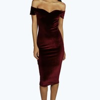 Naya Velvet Off The Shoulder Midi Dress