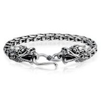 Bling Jewelry Mens Sterling Silver Antique Bali Dragon Bracelet MORE SIZES