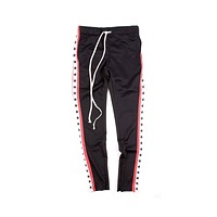 EPTM Men's Star Striped Track Pants Black White Red