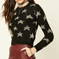 Star Pattern Fuzzy Knit Sweater