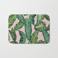 Jungle Leaves, Banana, Monstera II Pink #society6 Bath Mat by wheimay