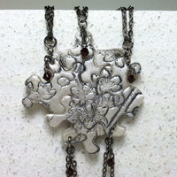 Puzzle Piece Necklace Set of 5 Best Friend Pendants with Swarovski Crystals Cherry Blossom Pattern BFF Made To Order