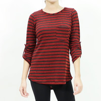Striped knitted roll up sleeve tunic top burgundy