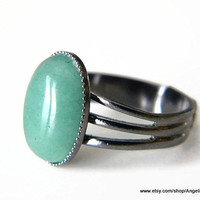 Aventurine Natural 14x10mm Stone and Gunmetal Plated Adjustable Ring