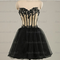 Real A-line Sweetheart Sleeveless Above the knee Tulle Satin Applique Short Cocktail Dresses Party Dresses Formal Dresses 2014 New Arrival
