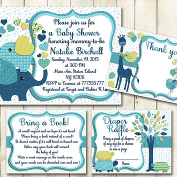 Teal navy blue green elephant baby shower printable invitation set colorful giraffe turtles tree boy digital invite with inserts book diaper