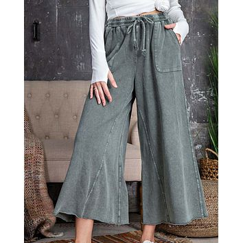 Mineral Wide Leg Pants in Stone