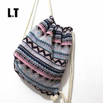 Summer Teenager Cute Backpack Pastel Baby Pink Blue Rose Quartz Boho Gypsy Bohemian Chic Hippie Tribal Drawstring Rucksack Bags