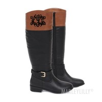 Monogrammed Colorblock Riding Boots | Marley Lilly