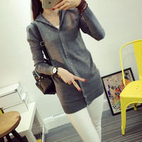 7 Colors 2016 New Arrival Cheap Loose Casual Knit Ladies Female Long Thin Hooded Sweater Women Spring Wool Cardigan Large Size