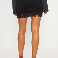 Black Crochet Trim Detail Mini Skirt