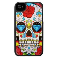 Sugar Skull and Red Roses iPhone 4 Case from Zazzle.com