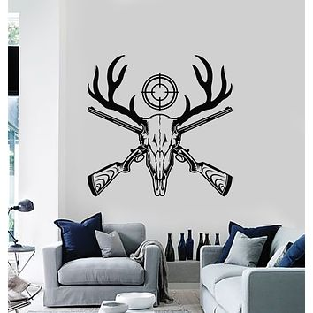 Vinyl Wall Decal Animal Forest Hunting Hobby Deer Rifle Target Hunter Stickers Mural (g1400)