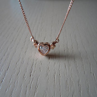 mini angel heart necklace,rose gold or silver necklace,simple mini heart wing necklace,best gift