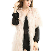 Beige Short Sleeve Fluffy Faux Fur Coat