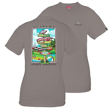 Simply Southern Preppy Alabama State Signs T-Shirt