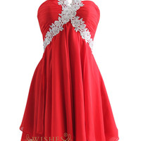 A-line Lace Halter Red Chiffon Short Prom Dress Am127