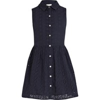 Girls navy broderie shirt dress - dresses - girls