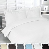 Cotton Queen Duvet-Cover-Set White - Premium Quality Combed Cotton Long Staple Fiber - Breathable, Cozy & Comfortable - Hotel Quality Exceptionally Durable - By Utopia Bedding (Queen, White)