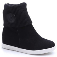 Black Knitted Fold Over Short Boots