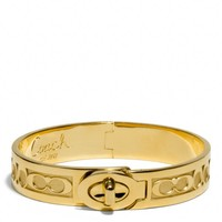 Coach :: New Half Inch Hinged Signature c Turnlock Bangle