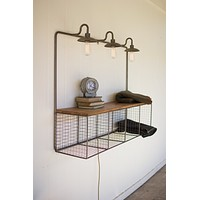 Wire Desk Cubby with 3 Vintage Inspired Lights CQ7106 - Kalalou